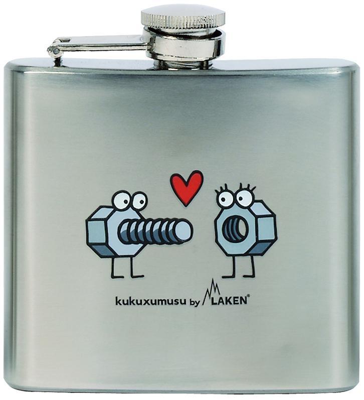 KP5-E Laken  Плоская фляжка Kukuxumuxu болт+гайкаПосуда<br><br> KP5-E Laken – легкая и красивая карманная фляжка, декорированная в забавном стиле Kukuxumuxu. Она долго будет радовать своего хозяина: ее основу составляет прочная алюминиевая емкость, химически инертная к органическим кислотам, рисунки защищены от...<br><br>Цвет: Серый<br>Размер: 150 мл