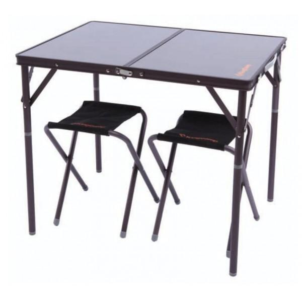 Набор мебели складной 3907 Alu Table and Chair SetСтулья, кресла<br>Набор складной мебели на 4 персоны(стол и 4 стула).Компактно складывается<br> <br> Характеристики:<br><br>Вес: 4,5 кг<br><br>Размеры: 80 х 60 х 28/68 см + 32 x 30 x 40 см<br><br>Рама: алюминий<br><br>Столешница: МДФ&lt;/l...<br><br>Цвет: Темно-серый<br>Размер: None