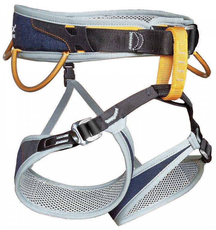 Обвязки спортивные Streak JeansОбвязки, беседки<br>Streak – это полностью регулируемая и очень комфортная обвязка для спортивного скалолазания. Петли для ног конической формы подходят для любых ног и обеспечивают высокий уровень комфорта. Одна быстрозастёгивающаяся пряжка на поясном ремне помогает быст...<br><br>Цвет: Синий<br>Размер: None