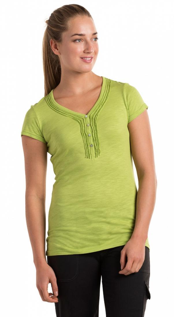 Топ Vega HenleyФутболки, поло<br><br>Материал – модал 60%, органический хлопок 40% (мягкий и гигиеничный).<br>Одежда сохраняет первоначальный цвет и форму даже после многочисленных стирок. <br>Ввиду особенностей кроя модель не сковывает движений и подчеркивает женс...<br><br>Цвет: Салатовый<br>Размер: S