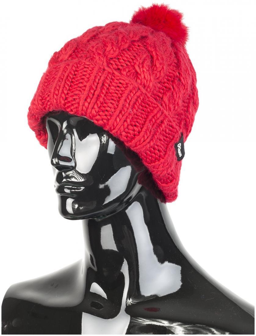 Шапка MiletteШапки<br>Теплая женская шапка из акрила с помпоном из меха и флисовым утеплителем.<br> Состав: 100% акрил, утеплитель - флис.<br><br>Цвет: Красный<br>Размер: None