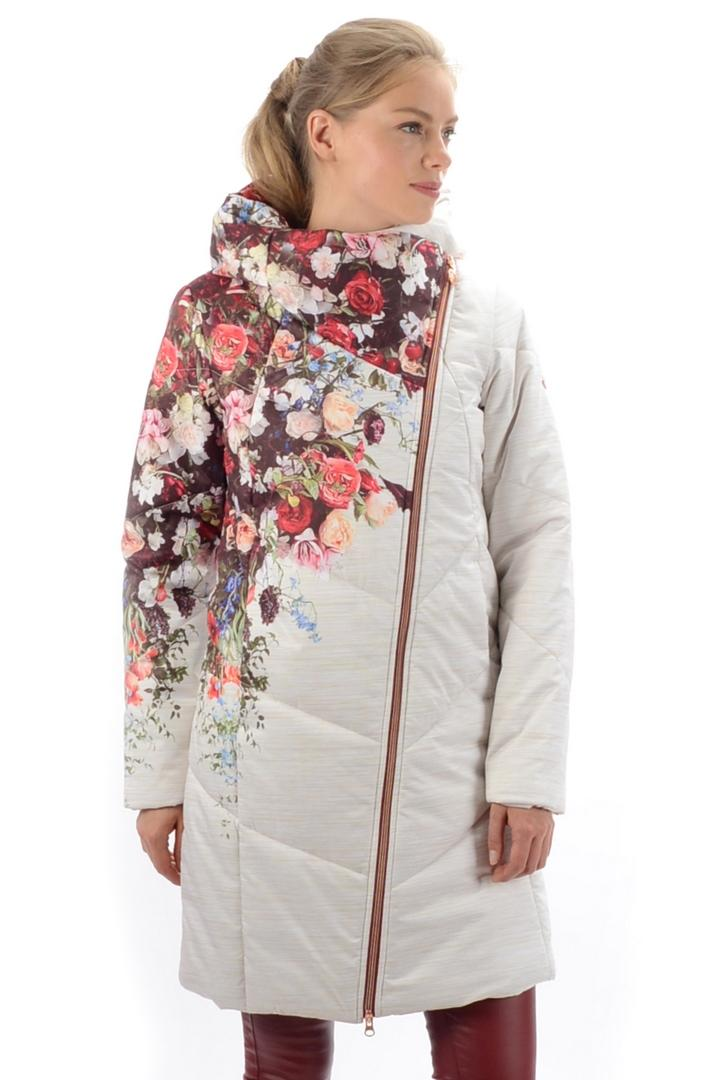 Куртка 17-47945 жен.Куртки<br>Трендовое утепленное пальто, выполненная из эксклюзивного мембранного материала с авторским принтом Twill Melange Floral Print и актуальной ассиметричной конструкцией. Достаточные показатели ветро-влагозащиты и паропроницаемости. Поверхность материала ...<br><br>Цвет: Белый<br>Размер: 52