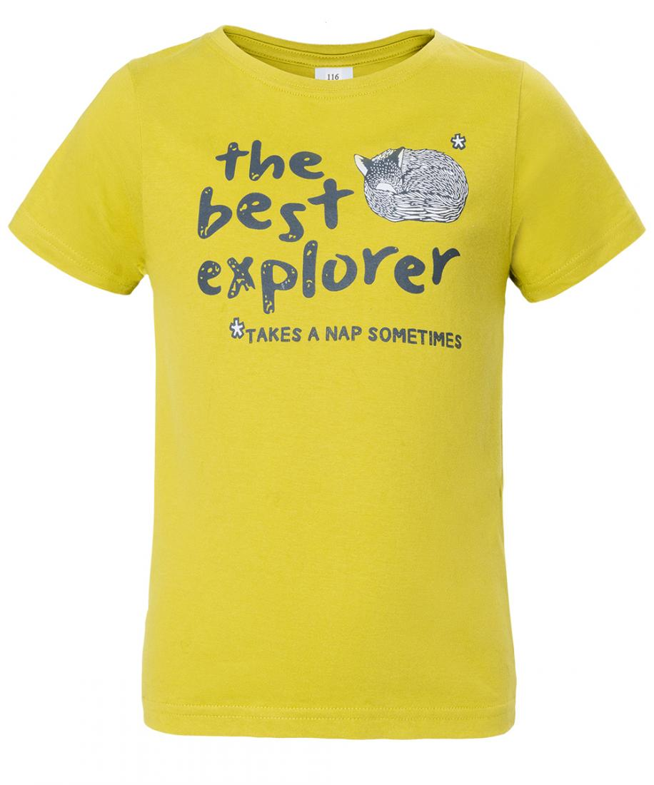 Футболка Explorer Boy ДетскаяФутболки, поло<br>Классическая футболка из 100% хлопка. Изделие прекрасно подойдёт для использования во время прогулок и поездок.<br><br>материал: 100% cotton, 150 g/sqm<br><br><br>Цвет: Желтый<br>Размер: 98