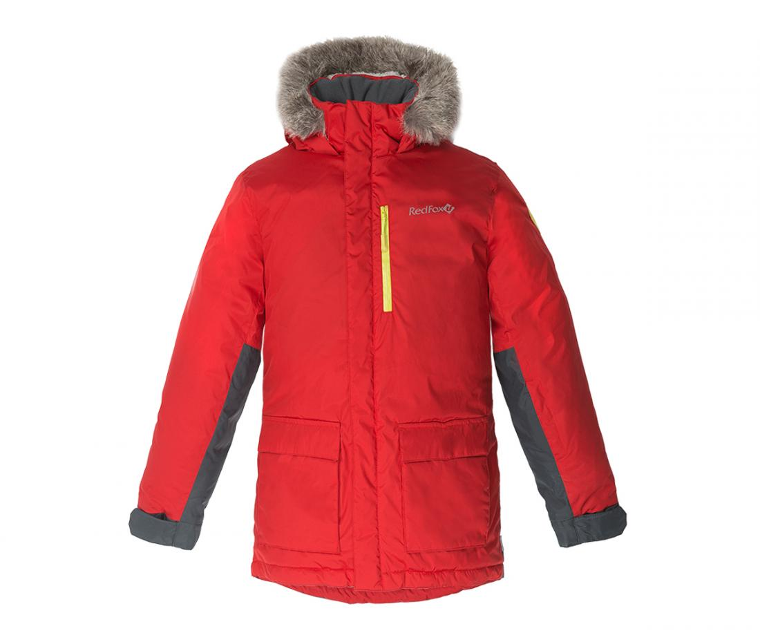 Куртка утепленная Spy Fox II ДетскаяКуртки<br>Стильная и комфортная зимняя куртка для подростков c опушкой из искусственного меха на капюшоне и регулировками по объему и глубине.<br> Два боковых кармана на молнии, внутренний карман и карман на рукаве, регулируемые манжеты на рукавах, затяжка по низ...<br><br>Цвет: Красный<br>Размер: 128