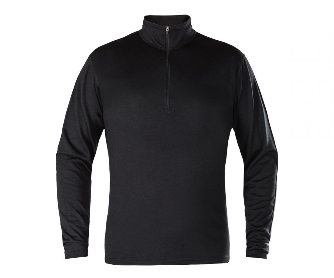 Термобелье пуловер Merino МужскойФутболки<br>Теплый мужской пуловер с комфортным воротником-стойкой на молнии. Выполнен из натуральноймериносовой шерсти; приятен к телу, естественным образом отводит влагу и сохраняет тепло; благодаряособой структуре волокон ткани, обладает антимикробными свойст...<br><br>Цвет: Черный<br>Размер: L