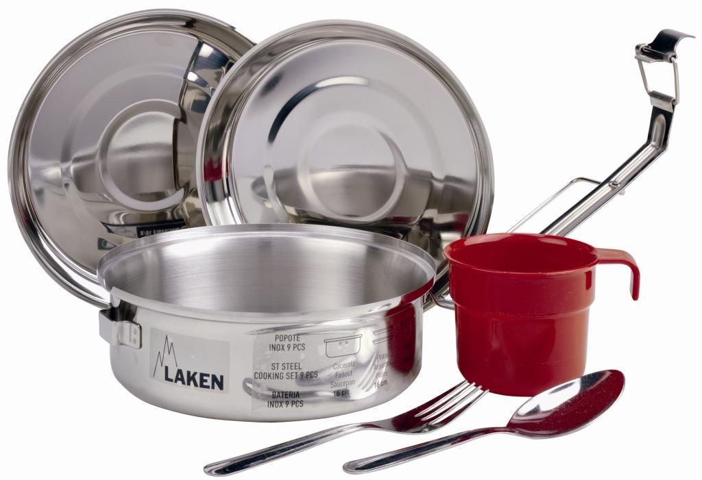 Laken 8816 Набор посуды (1 л, крышка-миска - 2 шт, чашка, ложка, вилка) стальной