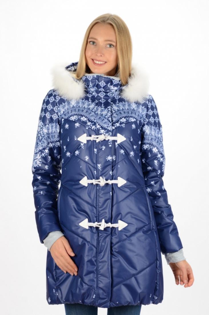 Куртка 47637 жен.Куртки<br>Прекрасно утепленная длинная зимняя куртка с отделкой воротника и капюшона искусственным мехом выполнена из технологичного материала с авторским принтом. Соотношение небольшого веса и высоких теплоизолирующих свойств позволяет активно двигаться в течен...<br><br>Цвет: Синий<br>Размер: 42