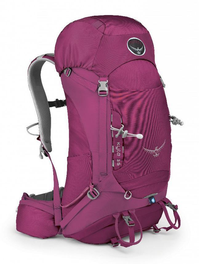Рюкзак Kyte 36Туристические, треккинговые<br>Универсальные всесезонные рюкзаки серии Kyte разработаны с учетом анатомических особенностей женской фигуры. Cпециальная накидка от дождя защитит рюкзак и вещи от промокания. Хорошо вентилируемая регулируемая спина AirSpeed™ позволяет сбалансировать це...<br><br>Цвет: Фиолетовый<br>Размер: 36 л