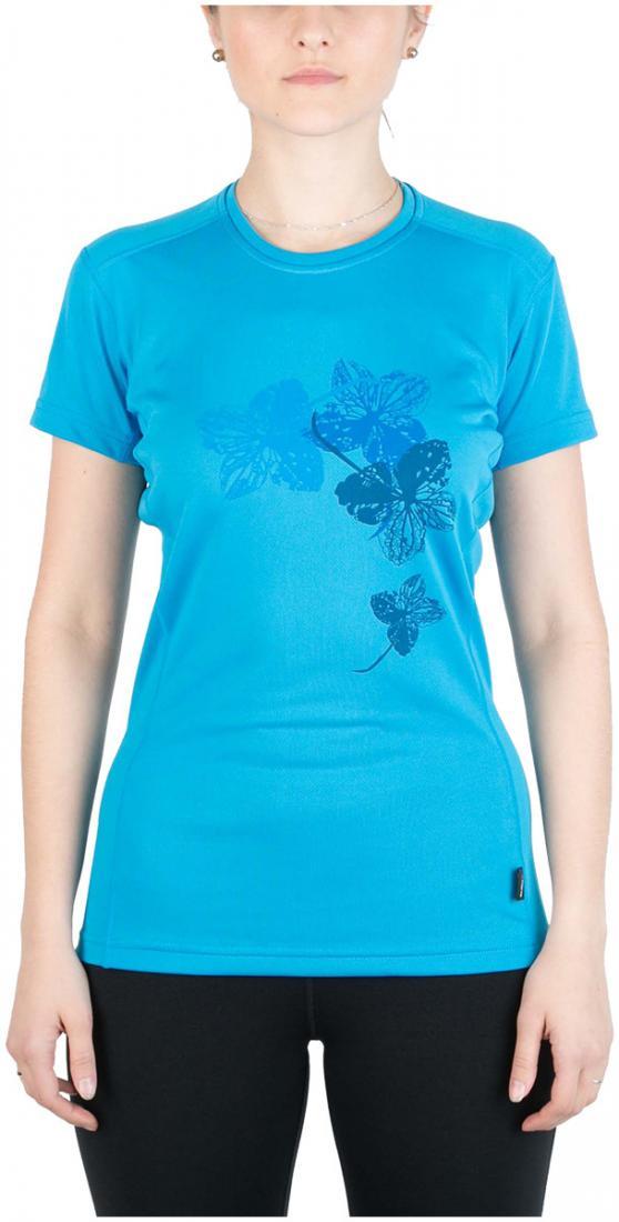 Футболка Korela ЖенскаяФутболки, поло<br><br> Женская футболка «свободного» кроя с оригинальным аутдор принтом<br><br><br> Основные характеристики:<br><br><br>материал с высокими показателями воздухопроницаемости<br>обработка материала, защищающая от ультрафиолетовых лучей...<br><br>Цвет: Голубой<br>Размер: 42