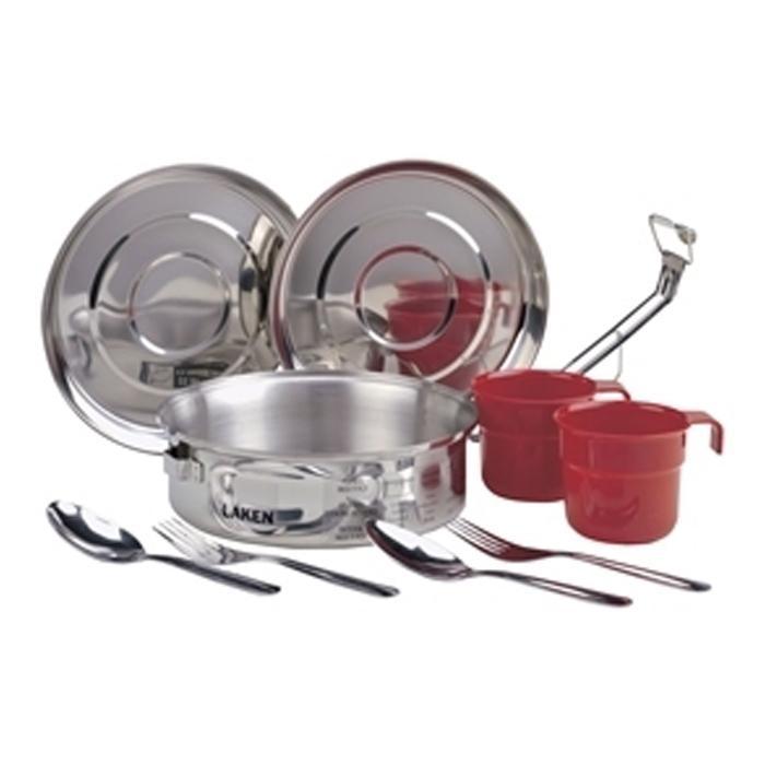 8818 Набор посуды (1.3 л, крышка-миска, чашка, ложка, вилка - по 2 шт) стальнойСтоловые наборы<br><br> Набор посуды 8818 от Laken предназначен для туристов, любителей отдыха на природе и пикников. Он рассчитан на две персоны и состоит из 1,3-литровой кастрюли, двух вилок, чашек и ложек, а также крышек, которые могут использоваться, как миски. Посуда...<br><br>Цвет: Серый<br>Размер: None