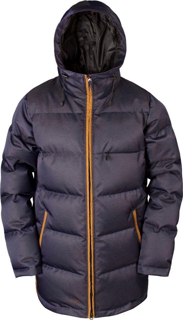 Куртка пуховая EclipseКуртки<br><br>Пуховая куртка с минималистичным дизайном, изготовлена из денима трех цветов, в черном и сером вариантах с ваксовым покрытием. eclipse будет выглядеть премиально как в городе, так и не склоне, т.к. куртка оборудована вентиляциями и съемной юбкой. Не...<br><br>Цвет: Синий<br>Размер: 54