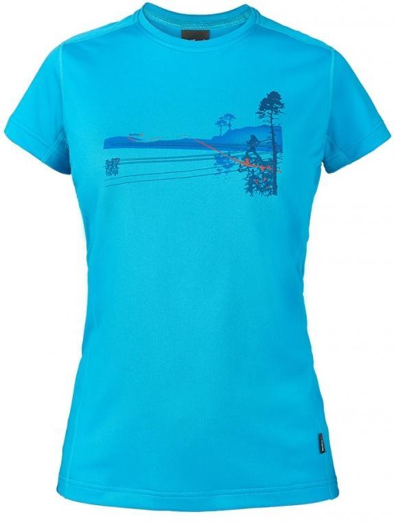 Футболка Ride T ЖенскаяФутболки, поло<br><br> Легкая и функциональная футболка свободного кроя из материала с высокими влагоотводящими показателями. Может использоваться в качестве базового слоя в холодную погоду или верхнего слоя во время активных занятий спортом.<br><br>Основные характери...<br><br>Цвет: Голубой<br>Размер: 44