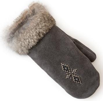 Manitobah Перчатки Suede Mitt with Fur Trim (LG, Charcoal /св-серый, , ,) manitobah рукавицы fur gauntlets