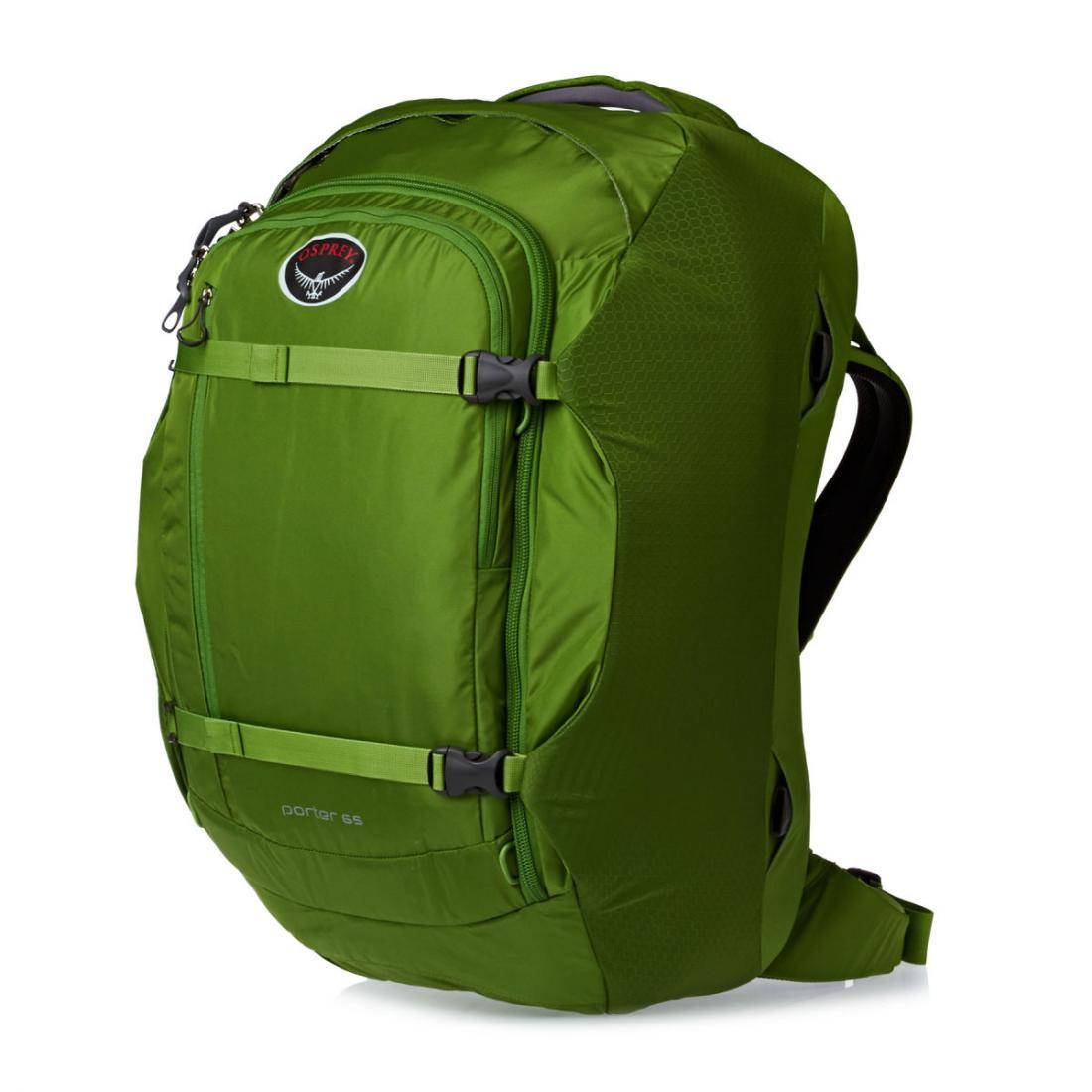 Сумка-рюкзак Porter 65Рюкзаки<br>Porter 65 - идеальный надежный и удобный рюкзак для путешествий. Несколько карманов внутри основного отделения позволяют разложить все вещи по местам. Опытным путешественникам понравится передний карман с мягким отсеком для ноутбука или планшета. Тради...<br><br>Цвет: Темно-зеленый<br>Размер: 65 л