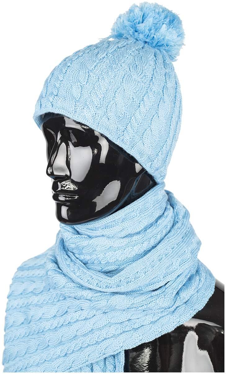 Комплект шапка и шарф IslandШапки<br>Основной материал: шерсть, акрил<br> <br>Великолепные вязаные аксессуары - женские шапка и шарф. Прекрасное дополнение к новым женским моделям Red...<br><br>Цвет: Голубой<br>Размер: 60
