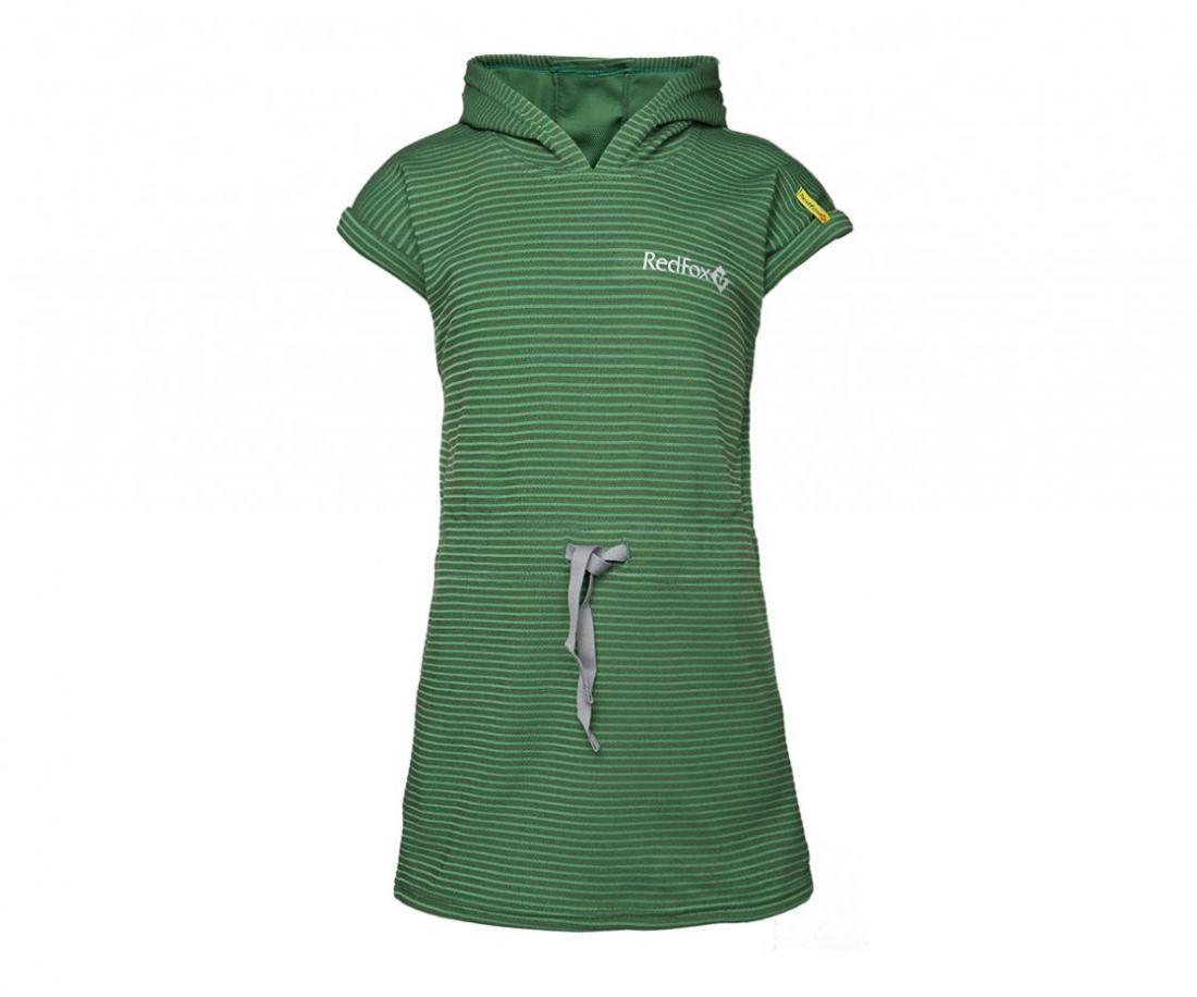 Платье с капюшоном Foxy Team ДетскоеПлатья, юбки<br>Вашей дочке очень понравится это оригинальное платье: нежный материал моментально высыхает, легкий капюшон защитит от солнечный лучей, а в...<br><br>Цвет: Зеленый<br>Размер: 110