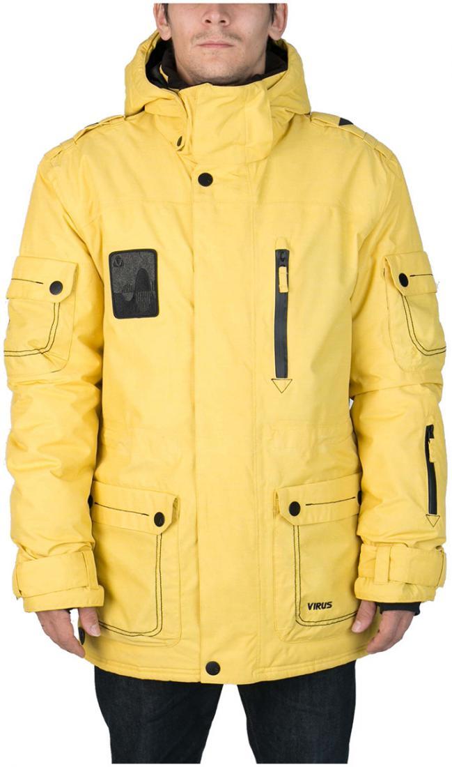 Куртка Virus  утепленная Hornet (osa)Куртки<br><br> Многофункциональная мужская куртка-парка для города и склона. Специальная система карманов «анти-снег». Удлиненный силуэт и шлица на л...<br><br>Цвет: Желтый<br>Размер: 54