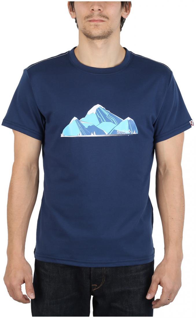 Футболка Fraser МужскаяФутболки, поло<br><br> Легкая и прочная футболка с оригинальным аутдор принтом , выполненная из ткани на 70% состоящей из полиэстера и на 30% из хлопка, что способствует большей износостойкости изделия. создает отличную терморегуляцию и оптимальный комфорт в повседневном...<br><br>Цвет: Синий<br>Размер: 56