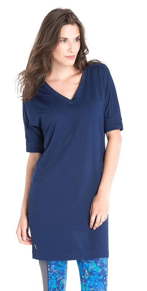 Платье LSW1510 IVANA DRESSПлатья<br>Платье с V-образным вырезом из мягкой эластичной ткани с добавлением шерсти. <br> <br> Особенности:<br><br>V-образный вырез<br><br>Рукав...<br><br>Цвет: Синий<br>Размер: XL