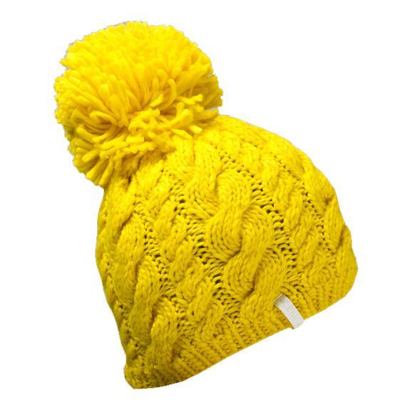 Шапка RainbowШапки<br>Женственная шапка в четырех ярких цветах. Большой помпон и вязка «косичкой» - все то, что так любят девушки! 100% акрил.<br><br>Цвет: Желтый<br>Размер: None