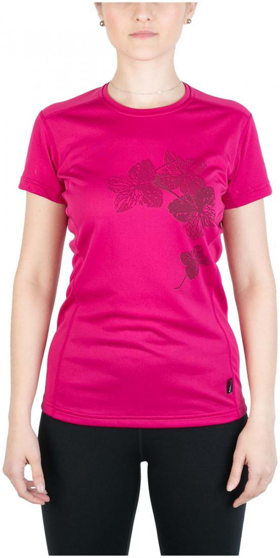 Футболка Korela ЖенскаФутболки, поло<br><br> Женска футболка «свободного» кро с оригинальным аутдор принтом<br><br><br> Основные характеристики:<br><br><br>материал с высокими показателми воздухопроницаемости<br>обработка материала, защищаща от ультрафиолетовых лучей...<br><br>Цвет: Розовый<br>Размер: 42