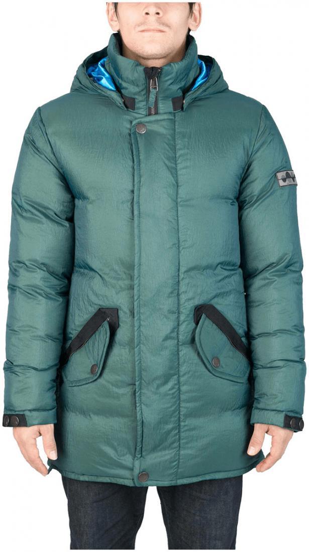 Куртка пуховая SandwichКуртки<br><br>Удлиненный мужской пуховик Sandwich создан специально для суровых российских зим. Утеплитель на основе из гусиного пуха, нетривиальные дет...<br><br>Цвет: Темно-зеленый<br>Размер: 54