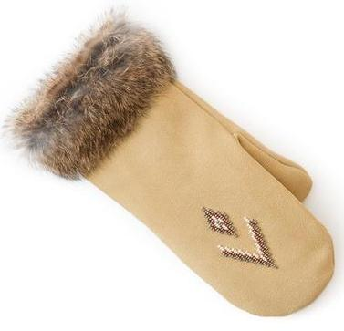 Manitobah Перчатки Suede Mitt with Fur Trim (LG, Tan/Св-бежевый, , ,) manitobah унты kanada mukluk мужск 8 charcoal св серый