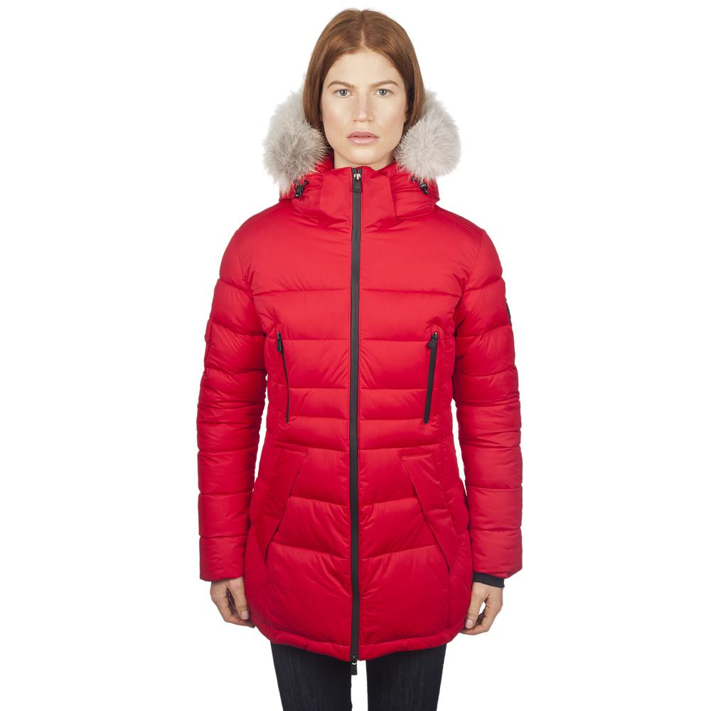 Куртка утепленная женская BLISS/ASPENКуртки<br>Модная и практичная стеганая парка для женщин.Приталенный силуэт. Капюшон со съемной опушкой из натурального меха койота. Мягкие трикотажные манжеты на рукавах, защищающие от ветра. <br><br>Серия: Tech<br>Внешний материал: мягкий эластич...<br><br>Цвет: Красный<br>Размер: L