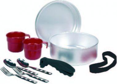 808 Набор посуды (крышка-миска, чашка, ложка, вилка - по 2 шт, держатель) алюминийСтоловые наборы<br><br> Набор посуды 808 от Laken для двух человек изготовлен из алюминия – популярного материала, который сочетает в себе гигиеничность, прочнос...<br><br>Цвет: Серый<br>Размер: 21 см