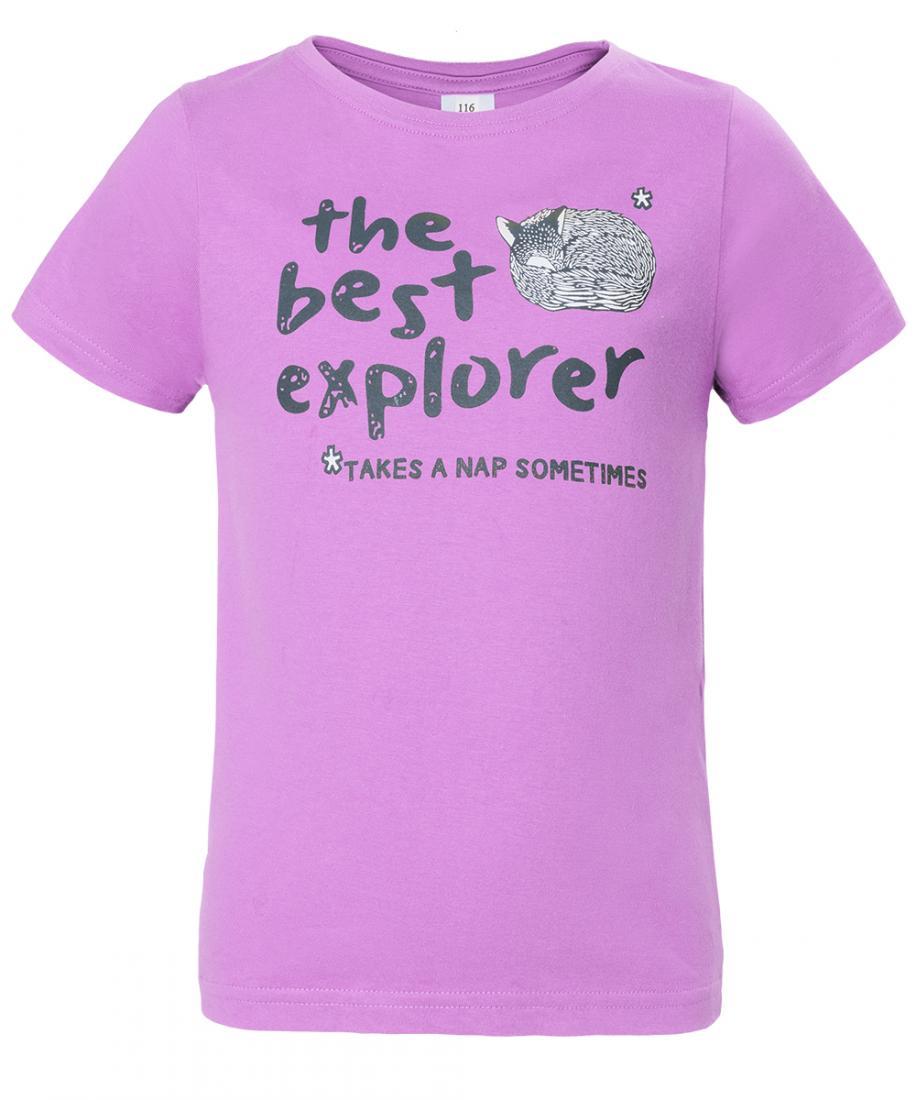 Футболка Explorer Girl ДетскаяФутболки, поло<br>Классическая футболка из 100% хлопка. Изделие прекрасно подойдёт для использования во время прогулок и поездок.<br><br>материал: 100% cotton, 150 g/sqm<br><br><br>Цвет: Светло-фиолетовый<br>Размер: 104