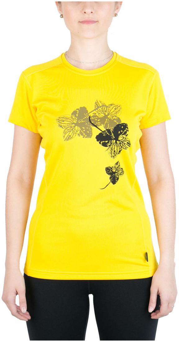 Футболка Korela ЖенскаяФутболки, поло<br><br> Женская футболка «свободного» кроя с оригинальным аутдор принтом<br><br><br> Основные характеристики:<br><br><br>материал с высокими показателями воздухопроницаемости<br>обработка материала, защищающая от ультрафиолетовых лучей...<br><br>Цвет: Желтый<br>Размер: 44