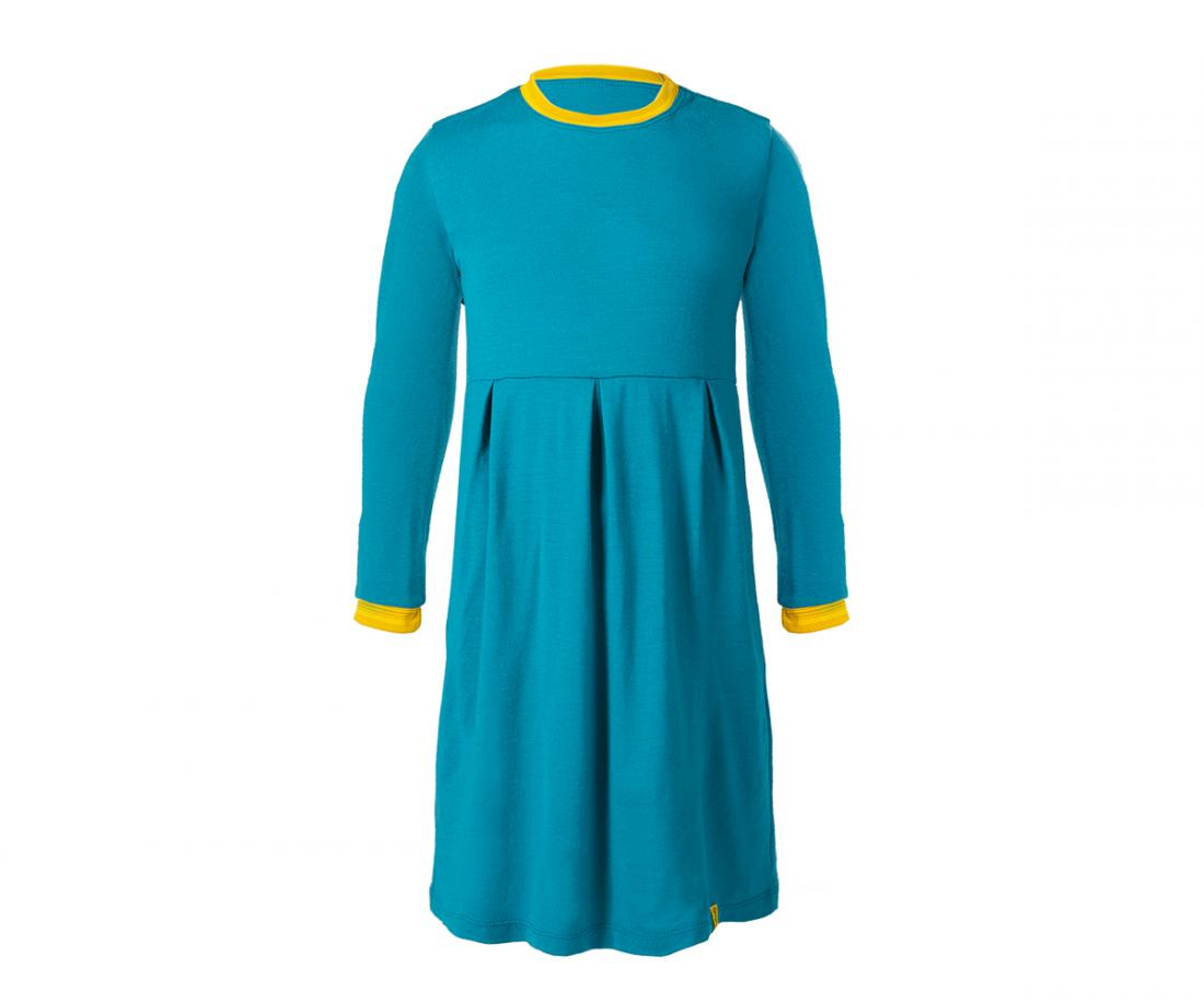 """Платье Stella ДетскоеПлатья, юбки<br>Теплое и легкое платье из шерсти мериноса. Прекрасно согревает во время прогулок в холодную погоду в качестве базового или утепляющего слоя, не """"кусает"""" нежную кожу ребенка. Плоские швы не стесняют движений.<br><br>Материал: 100% Merino wool...<br><br>Цвет: Голубой<br>Размер: 122"""
