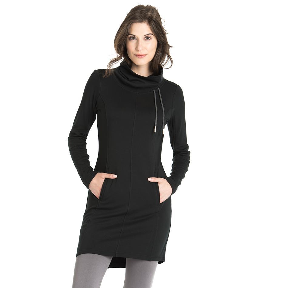 Платье LSW1527 CALL ME DRESSПлатья<br>Комфортабельное универсальноеплатье н Это все хорошо в нашем ЭКО-стрейч флис ткань.<br> <br>Особенности:<br><br>Воротник-стойка с ку...<br><br>Цвет: Черный<br>Размер: XS