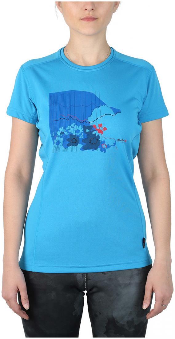 Футболка Red Rocks T ЖенскаяФутболки, поло<br><br> Женская футболка «свободного» кроя с оригинальным принтом.<br><br> Основные характеристики:<br><br>материал с высокими показателями воздухопроницаемости<br>обработка материала, защищающая от ультрафиолетовых лучей<br>обрабо...<br><br>Цвет: Голубой<br>Размер: 46