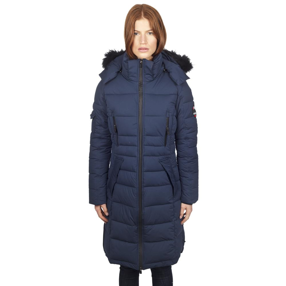 Куртка утепленная женская VENTURAКуртки<br>Теплая и комфортная длинная стеганая пуховая парка для женщин. Капюшон со съемной опушкой из натурального меха койота. Мягкие трикотажные манжеты на рукавах, защищающие от ветра.<br><br>Серия: Tech<br>Внешний материал: мягкий эластичный ...<br><br>Цвет: Синий<br>Размер: XXS