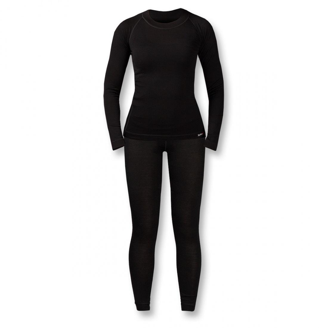 Термобелье костюм Wool Dry Light ЖенскийКомплекты<br><br> Тончайшее термобелье для женщин из мериносовой шерсти: оно достаточно теплое и пуловер можно носить как самостоятельный элемент одежды.В качестве базового слоя костюм прекрасно подходит для занятий спортом в холодную погоду зимой.<br><br><br> Ос...<br><br>Цвет: Черный<br>Размер: 42