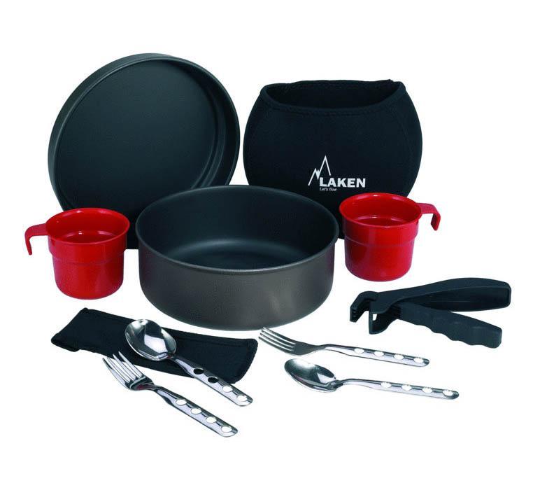 6808 Набор посуды (2 л, крышка-миска, чашка, ложка, вилка - по 2 шт, держатель) антипригарное
