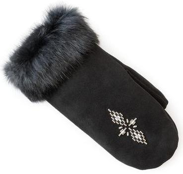 Manitobah Перчатки Suede Mitt with Fur Trim (LG, Black/черный, , ,) manitobah рукавицы fur gauntlets