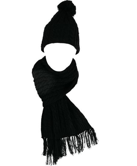 Комплект шапка и шарф IslandШапки<br>Основной материал: шерсть, акрил<br> <br>Великолепные вязаные аксессуары - женские шапка и шарф. Прекрасное дополнение к новым женским моделям Red...<br><br>Цвет: Черный<br>Размер: 60
