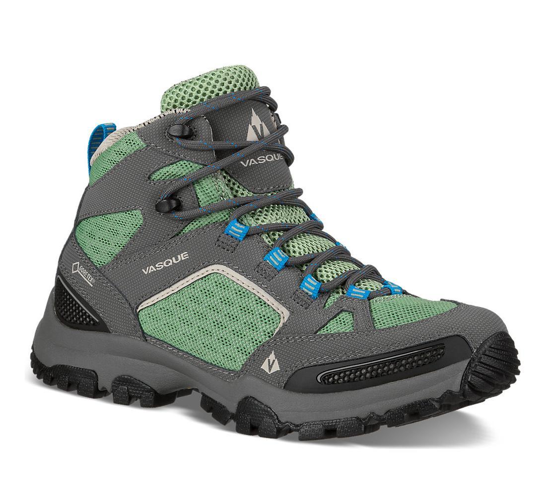 Ботинки жен. 7331 Inhaler GTXТреккинговые<br><br><br><br> Высокие женские ботинки Vasque 7331 Inhaler GTX созданы из прочных материалов, которые обеспечивают безопасность, устойчивость и комфорт в походах и во время загородного отдыха. Модель, входящая в коллекцию дышащей обуви для хайкинга, по...<br><br>Цвет: Серый<br>Размер: 8.5