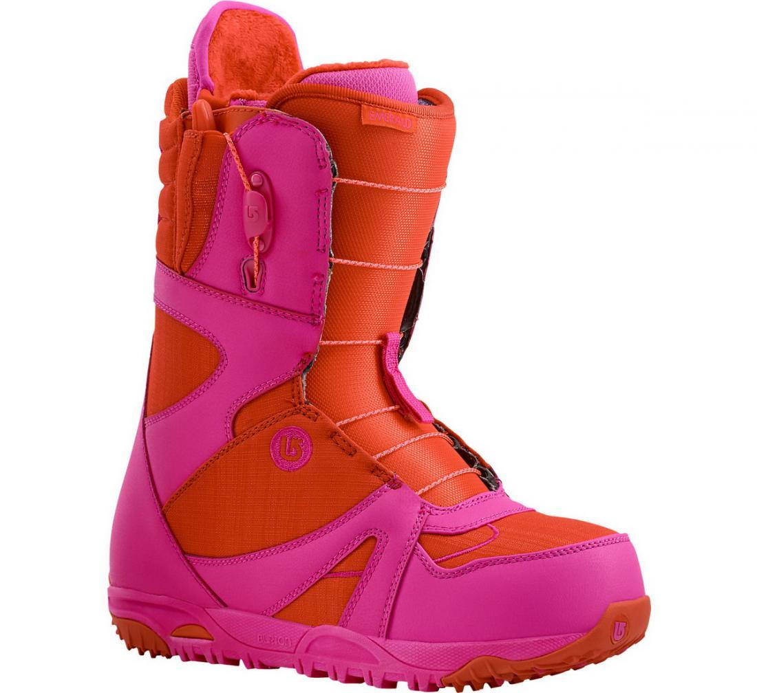 Ботинки сноуб. EMERALD жен.Ботинки<br><br> Emerald – жесткий сноубордический ботинок от Burton, созданный с учетом женской анатомии. Благодаря улучшенной амортизационной системе, в основе которой лежит воздушная подушка 270 Airbag, ноги выдерживают самые сильные удары при плоском приземлени...<br><br>Цвет: Красный<br>Размер: 7