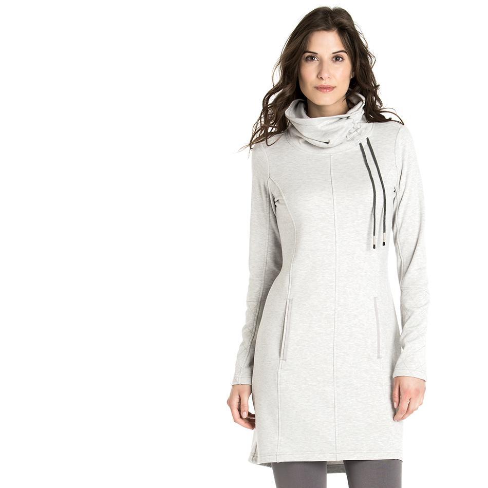 Платье LSW1527 CALL ME DRESSПлатья<br>Комфортабельное универсальноеплатье н Это все хорошо в нашем ЭКО-стрейч флис ткань.<br> <br>Особенности:<br><br>Воротник-стойка с ку...<br><br>Цвет: Серый<br>Размер: S