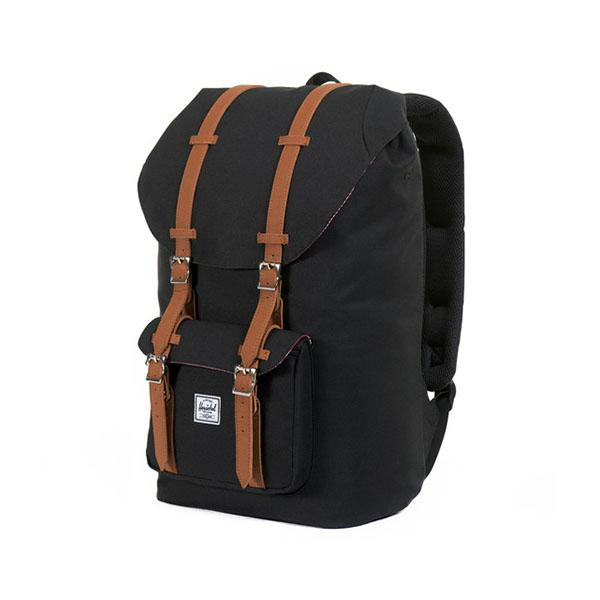 Herschel Рюкзак Little America (, Black/Tan Synthetic Leather, , ,)
