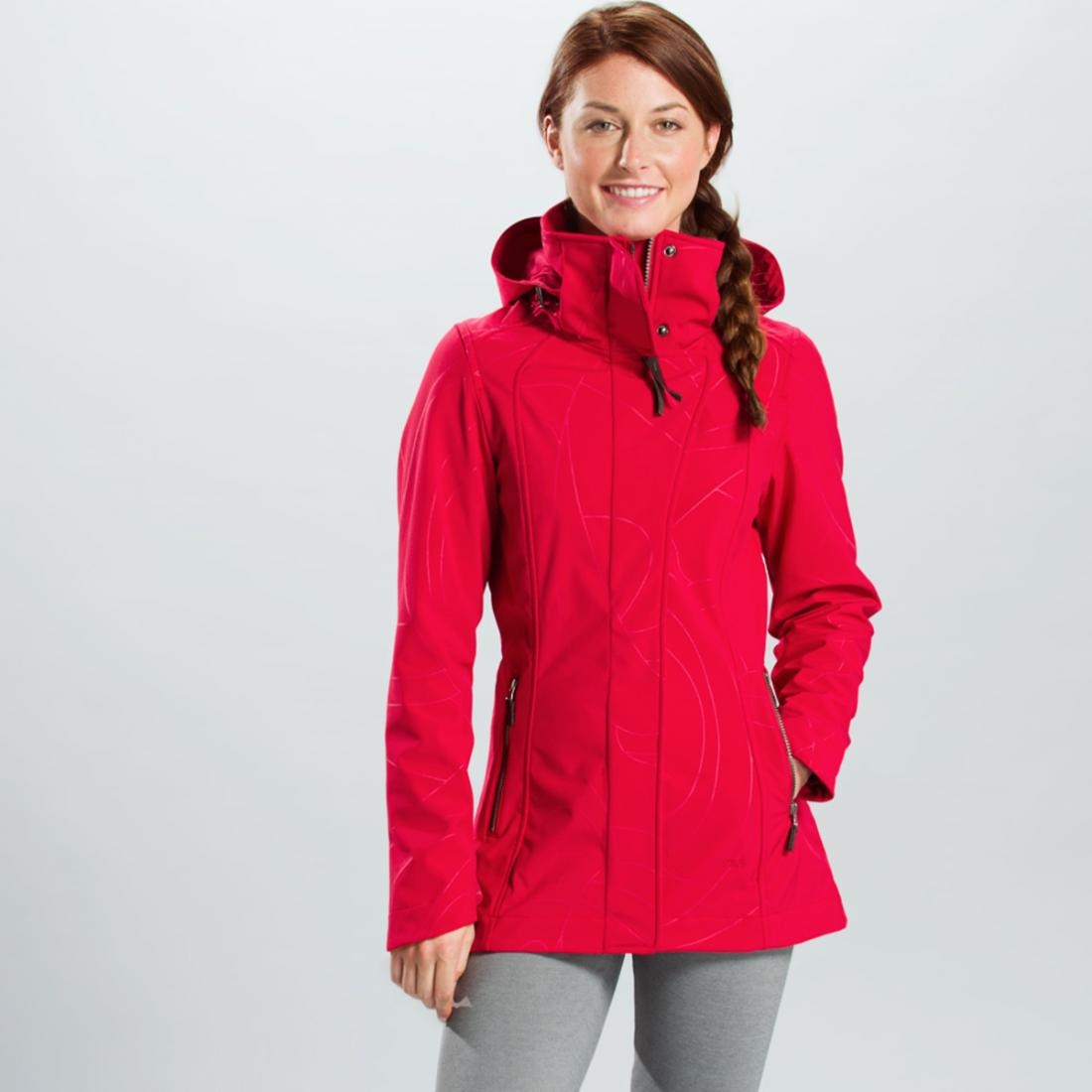 Куртка LUW0191 STUNNING JACKETКуртки<br>Легкий демисезонный плащ из софтшела с оригинальным принтом – функциональная и женственная вещь. <br> <br><br>Регулировки сзади на талии...<br><br>Цвет: Бордовый<br>Размер: XS