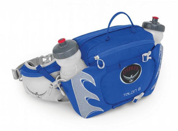 Сумка поясная Talon 6 c бутылкойСумки<br>Если бы одинокому страннику понадобилась поясная сумка, то он выбрал бы эту модель. 2 бутылки объемом 600 мл в специальных отделениях со стяжкой позволяют на ходу утолить жажду. Компрессионная система StraightJacket™ делает сумку более компактной, что ...<br><br>Цвет: Голубой<br>Размер: 6 л