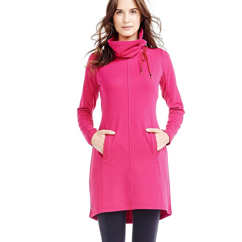 Платье LSW1527 CALL ME DRESSПлатья<br>Комфортабельное универсальноеплатье н Это все хорошо в нашем ЭКО-стрейч флис ткань.<br> <br>Особенности:<br><br>Воротник-стойка с ку...<br><br>Цвет: Розовый<br>Размер: L