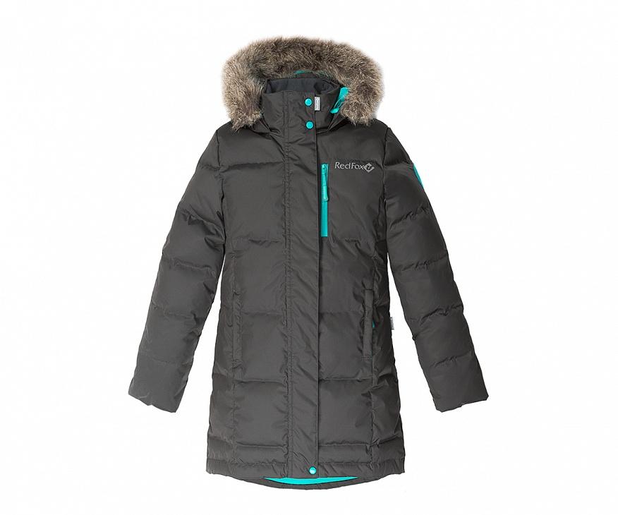 Купить Пальто пуховое Jane II Детское (128, 2010/асфальт/черный, ,) Red Fox