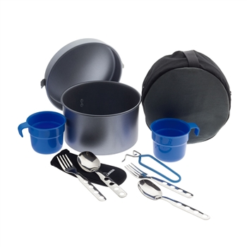 фото Набор посуды Non stick aluminium cooking set with 2 sets of cutleries, cups and cover Laken