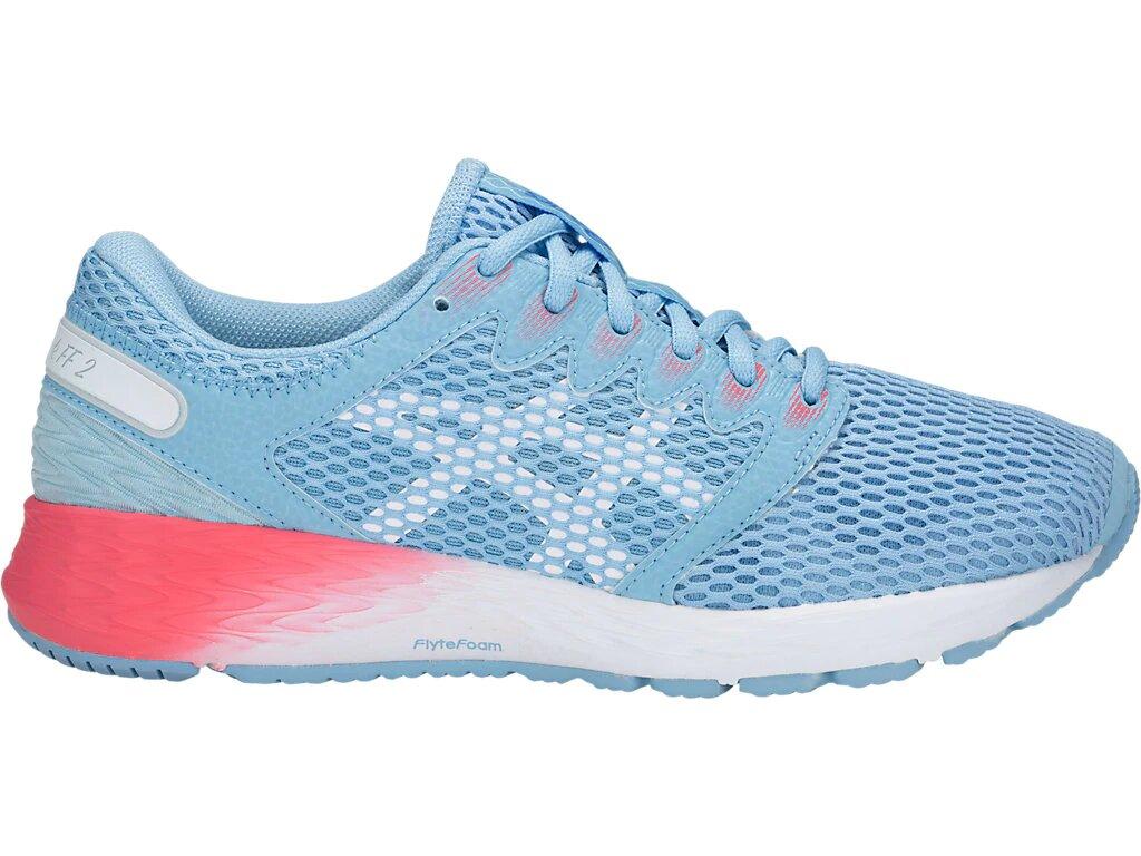 женские кроссовки asics, голубые